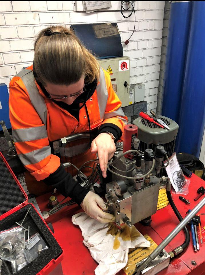 Lift engineer Charlene getting hands-on