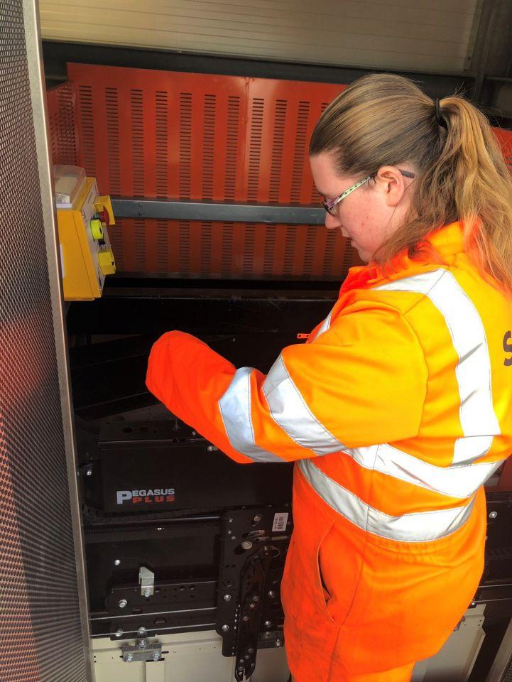 Charlene working on lift