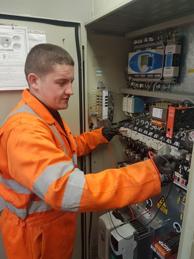 Dylan working on lift electricals